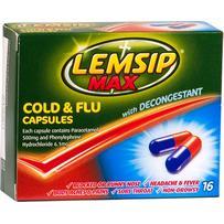 Lemsip Max Cold & Flu With Decongestant Capsules 16