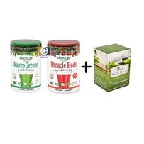 MacroLife Naturals DUO - Macro Greens?(30) & Miracle Reds (30) + Free Tea - ONLINE ONLY
