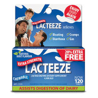 Lacteeze Extra Strength Chewable Tablets 120