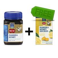 【超值包邮装】Manuka Health 蜜纽康 麦卢卡蜂蜜 MGO100+ 500g 赠麦卢卡蜂蜜润喉糖 100g 柠檬味