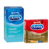 【Durex杜蕾斯避孕套组合】超薄避孕套 3片 + 经典避孕套片 20片